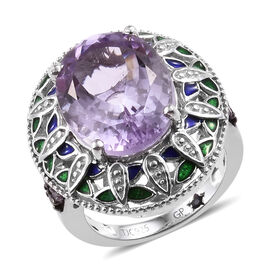GP 8.8 Ct Rose De France Amethyst and Multi Gemstones Ring in Sterling Silver