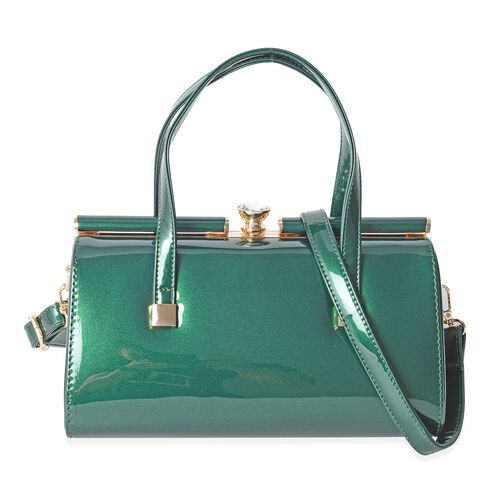 Boutique Collection High Glossed Vintage Style Green Tote Bag with Removable Shoulder Strap (Size 28x15x14 Cm)