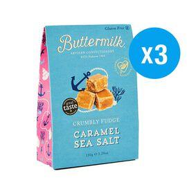 Buttermilk 3 x 150g Caramel Sea Salt Fudge sharing box