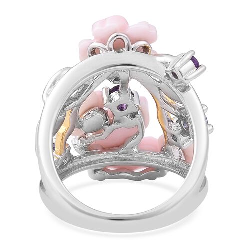 Jardin Collection - Pink Mother of Pearl, Tanzanite, Amethyst and Natural White Cambodian Zircon Ring in Enameled, Yellow Gold and Rhodium Overlay Sterling Silver, Silver wt 6.36 Gms.