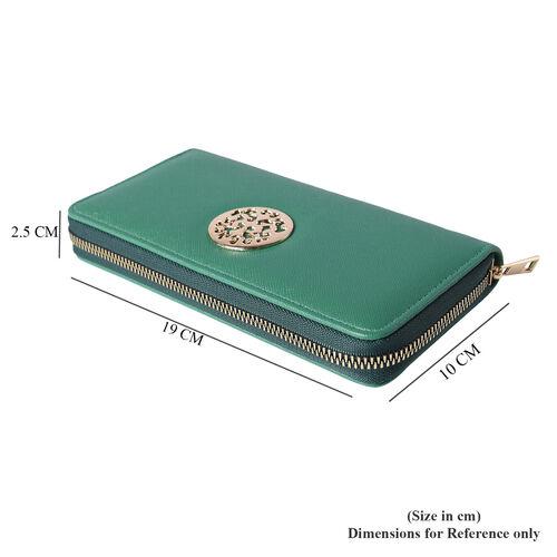 Forest Green RFID Long Clutch Wallet