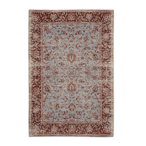 Premium Collection - Persian Style Jacquard Woven Cotton Area Rug with Turquiose Floral Pattern (Size 140x200 cm)