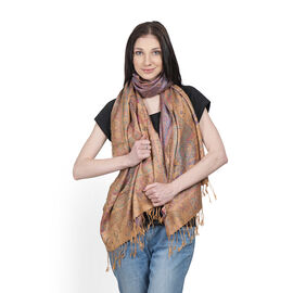 SILK MARK- 100% Superfine Silk Golden and Multi Colour Jacquard Jamawar Scarf with Tassels (Size 180