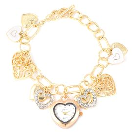 STRADA Japanese Movement White Austrian Crystal Studded Water Resistant Multi Heart Charm Enamelled