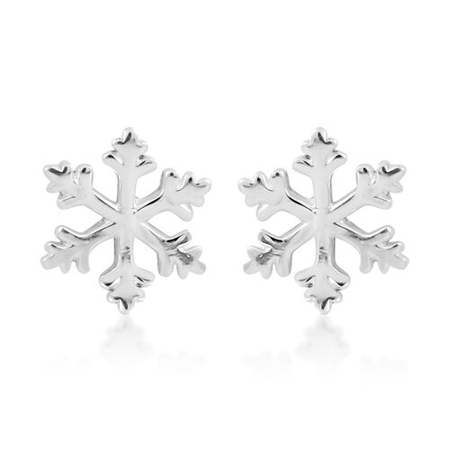 Set of 2 - Thai Sterling Silver Star and Snowflake Stud Earrings (with Push Back)