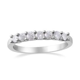 9K White Gold SGL Certified Diamond (Rnd) (I3/G-H) Seven Stone Band Ring 0.50 Ct.