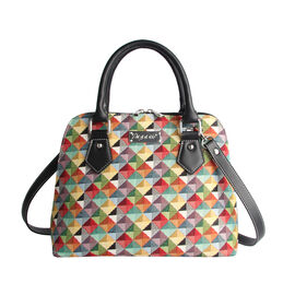SIGNARE - Tapestry Multi-Coloured Triangle Convertible Bag with Removable Strap ( 36 x 23 x 12.5 cm)