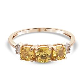 9K Yellow Gold AA Yellow Sapphire and Diamond Ring 1.31 Ct.