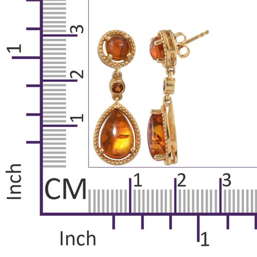 Baltic Amber (Pear), Madeira Citrine Earrings (with Push Back) in 14K Gold Overlay Sterling Silver 3.250 Ct. Silver wt 5.65 Gms.