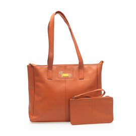 2 Piece Set - SUPER SOFT 100% Genuine Leather Sausage Dog Logo Coral Large Tote bag with Matching RFID Wallet (33x27x11 cm)