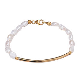 Freshwater Pearl Beaded Bracelet in Yellow Gold Plated Sterling Silver 7.5 Inch
