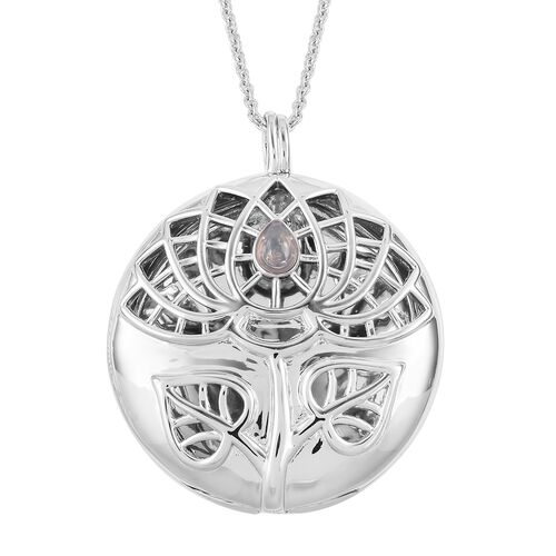 RACHEL GALLEY Ethiopian Welo Opal (Pear) Lotus Pendant with Chain (Size 30) in Rhodium Plated Sterling Silver, Silver wt 31.40 Gms.
