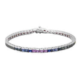 Collectors Edition- Rainbow Sapphire (Princess Cut) Channel Set Bracelet (Size 8) Rhodium Plated Ste