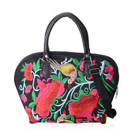 SHANGHAI COLLECTION Floral and Bird Embroidery Pattern Tote Bag with Adjustable and Removable Shoulder Strap (Size 42x29x14x28.5 Cm)