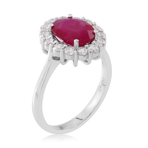 Signature Collection - RHAPSODY 950 Platinum AAAA Burmese Ruby (Ovl 3.25 Ct), Diamond (VS/E-F) Ring 4.150 Ct.Platinum Wt 6.50 Gms