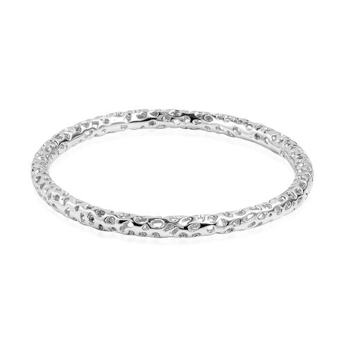 RACHEL GALLEY Rhodium Plated Sterling Silver Allegro Bangle (Size 7.5), Silver wt 17.11 Gms