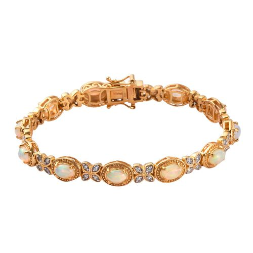 Ethiopian Welo Opal and Natural Cambodian Zircon Bracelet (Size 7) in 14K Gold Overlay Sterling Silv