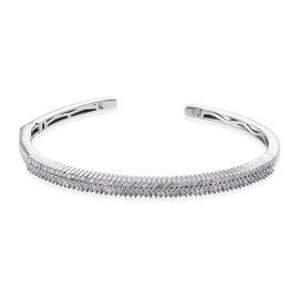 GP Diamond (Bgt), Kanchanaburi Blue Sapphire Cuff Bangle (Size 7.5) in Platinum Overlay Sterling Silver 1.270 Ct, Silver wt 16.50 Gms, Number of Diamonds 120.