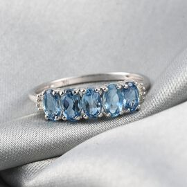 9K White Gold AA Santamaria Aquamarine and Diamond Ring 1.10 Ct.