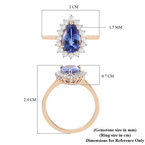 9K Yellow Gold AA Tanzanite and White Diamond Pear Halo Ring 1.64 Ct.