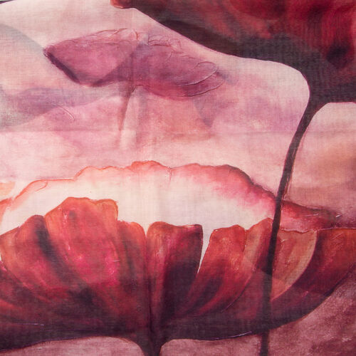 Designer Inspired-Red, Dark Pink and Multi Colour Lotus Leaf Pattern Scarf (Size 170x75 Cm)