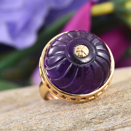 Stefy Amethyst (Rnd), Pink Sapphire Ring in 14K Gold Overlay Sterling Silver 29.030 Ct.