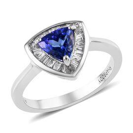 RHAPSODY 950 Platinum AAAA Tanzanite (Trl), Diamond (VS/E-F) Ring 1.00 Ct.