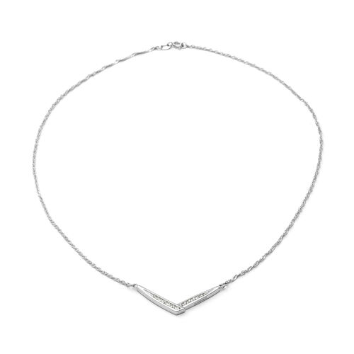 ELANZA Simulated Diamond Necklace (Size 18) in Rhodium Overlay Sterling Silver