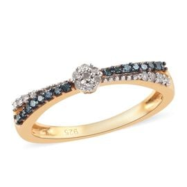 Blue and White Diamond Ring in 14K Gold Overlay Sterling Silver 0.15 Ct.