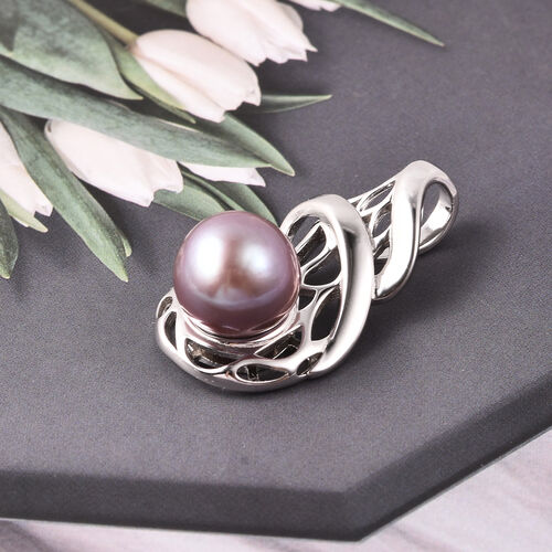 Purple Edison Pearl Pendant in Rhodium Overlay Sterling Silver