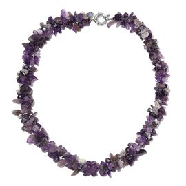 Amethyst Chips Necklace (Size 18) 308.000 Ct.