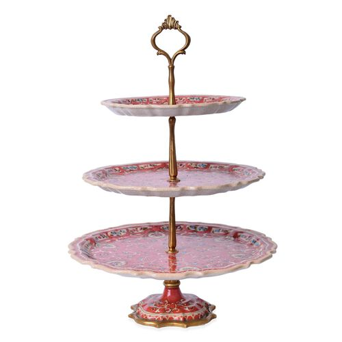 Hand Made Museum Collection - Bronze Stand with 3 Hand Painted Porcelain Plates (Size 43x13 Cm)