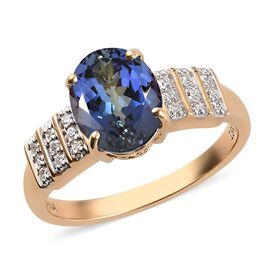 ILIANA 18K Yellow Gold AAA Peacock Tanzanite and Diamond (SI/G-H) Ring 3.20 Ct.