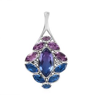 Sajen Silver - Celestial Quartz, Celestial Royal Blue Mystic Quartz, Rainbow Iris Mystic Quartz Pend