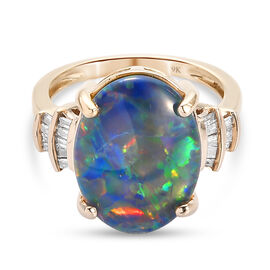 AA Australian Boulder Opal and Diamond Solitaire Design Ring in 9K Yellow Gold 3.69 Grams