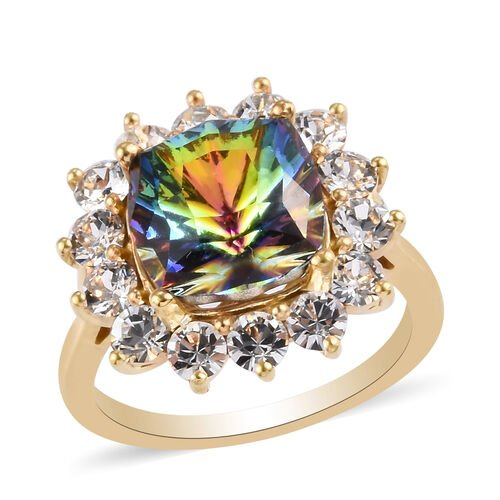 J Francis Crystal from Swarovski Vitrail Medium Crystal and White Crystal Halo Ring in 14K Gold Over
