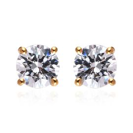 J Francis - 14K Gold Overlay Sterling Silver (Rnd) Stud Earrings (with Push Back) Made with SWAROVSK