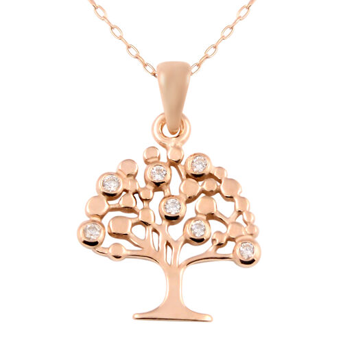 Italian Made-Rose Gold Overlay Sterling Silver Tree Pendant