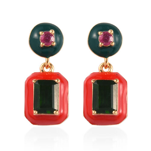 GP - Russian Diopside, African Ruby and Blue Sapphire Enamelled Drop Earrings (with Push Back) in 14