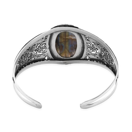 Royal Bali - Labradorite (Ovl 30x20mm) Bangle (Size 7.5) in Sterling Silver 34.98 Ct, Silver wt 31.65 Gms