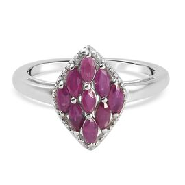 Burmese Ruby Cluster Ring in Platinum Overlay Sterling Silver