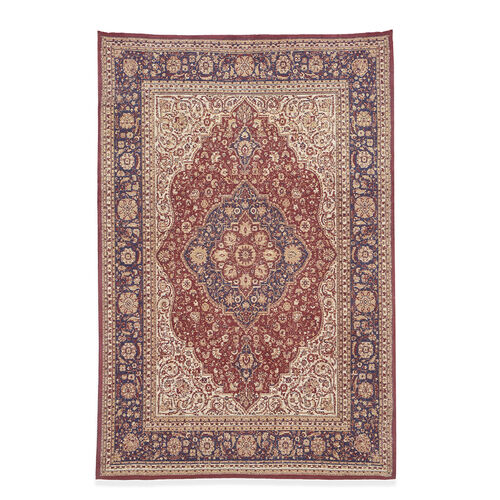 Premium Collection - Persian Style Jacquard Woven Cotton Area Rug with Red Medallion (Size 140x200 cm)