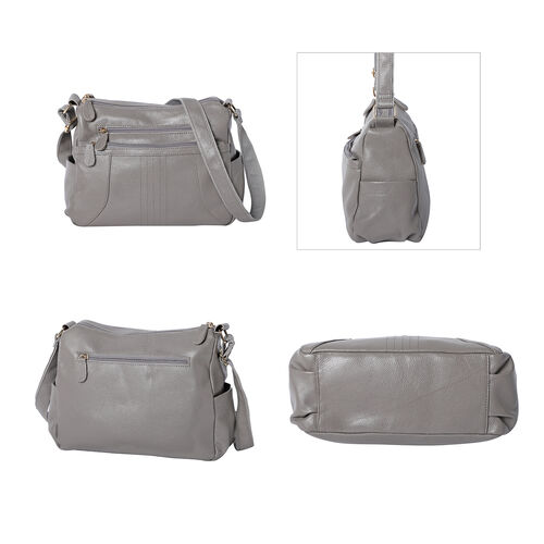 100% Genuine Leather Crossbody Bag with Multiple Pockets and Zipper Closure (Size 31x13x24 Cm) - Grey