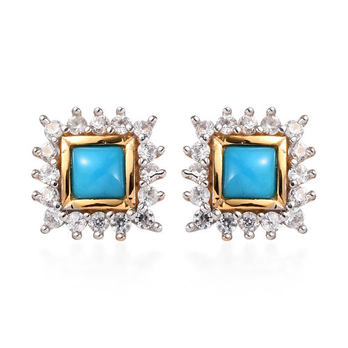 Arizona Sleeping Beauty Turquoise and Natural Cambodian Zircon Stud Earrings (with Push Back) in 14K