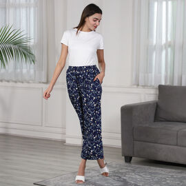 Floral Printed Trousers - Navy Blue