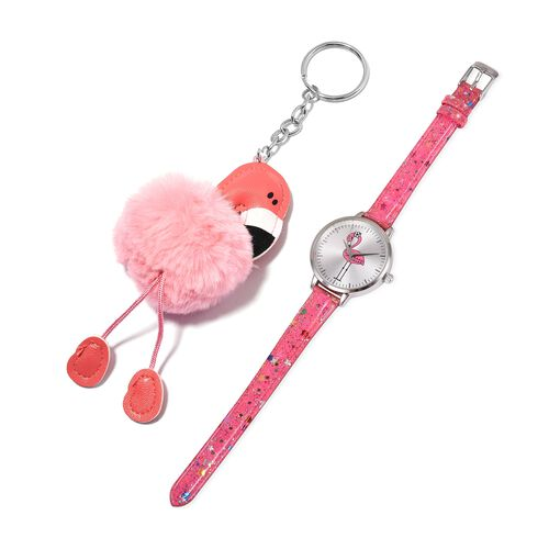 2 Piece Set - STRADA Japanese Movement Water Resistant Watch with Rose Pink Strap and Pink Flamingo