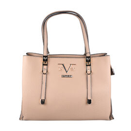 19V69 ITALIA by Alessandro Versace Litchi Pattern Handbag with Detachable Shoulder Strap and Zipper Closure (Size 33x11x22 Cm) - Dark Beige