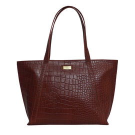 OTO - Assots London AGNES Croc Embossed Genuine Leather Tote Bag with Zipper Closure (Size 33x11x26