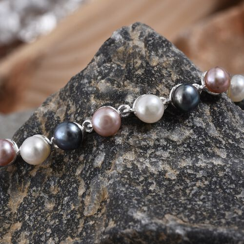 Fresh Water Pink and Peacock Pearl (Rnd 5mm), Bracelet (Size 7.5) in Sterling Silver 18.000 Ct, Silver wt 5.32 Gms.