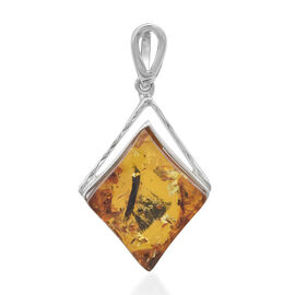 Natural Baltic Amber Pendant in Sterling Silver, Silver wt 6.84 Gms